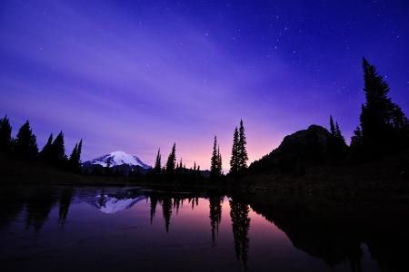 Картинки ночь, озеро, небо, гора