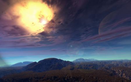 Фото Пейзаж, горы, небо