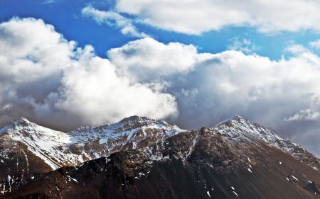 Фото горы, небо, облака, снег