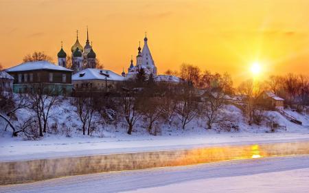 Фото закат, храм, река, зима