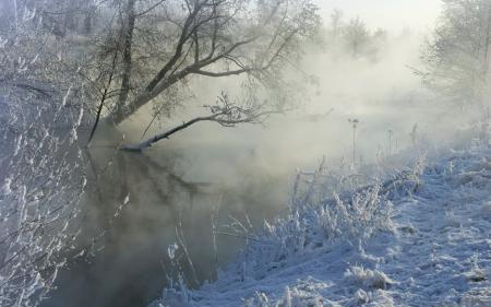 Заставки зима, река, туман, снег