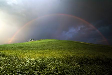 Обои небо, радуга, тучи, холм