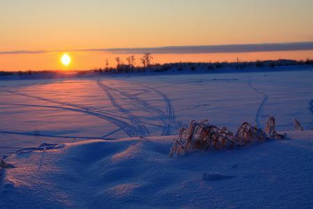 Картинки зима, закат, снег, настроение