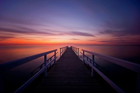 Фото море, вечер, закат, пирс