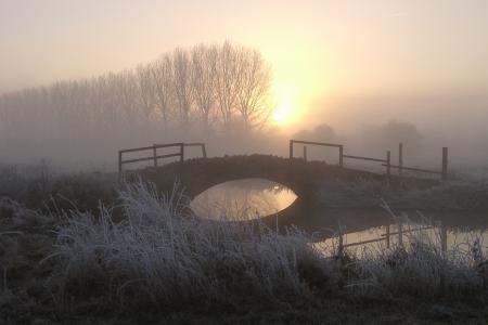 Обои утро, туман, мост