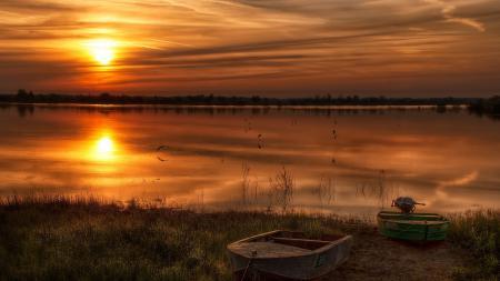 Картинки закат, река, лодки, пейзаж