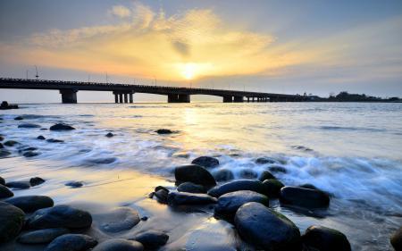 Картинки река, мост, камни, пейзаж