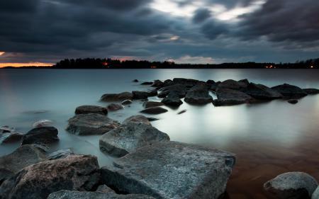 Фотографии ночь, озеро, камни