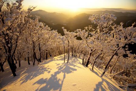 Заставки утро, рассвет, горы, снег