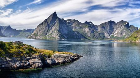 Фото фьорд, дом, горы
