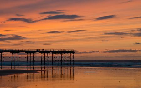 Заставки закат, мост, море, пейзаж