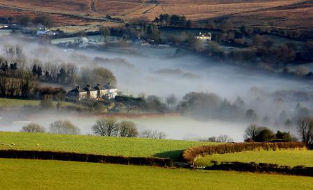Картинки долина, дома, утро, туман