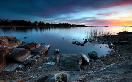 Фото закат, озеро, камни, пейзаж