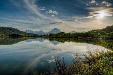 Заставки Yellowstone, озеро, горы, деревья