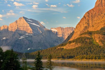 Обои горы, скалы, лес, река