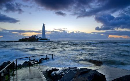 Заставки море, ночь, маяк, пейзаж