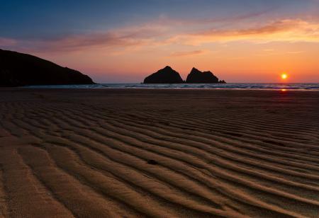 Заставки закат, море, скалы, силуэты