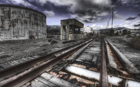 Обои железная дорога, рельсы, ночь