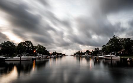 Фото озеро, лодки, ночь, пейзаж
