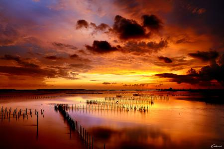 Фотографии закат, море, столбики, ряды