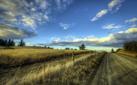 Картинки дорога, забор, пейзаж