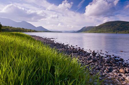 Заставки озеро, трава, берег, небо