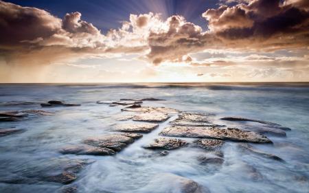 Картинки облака, лучи солнца, солнце, вода