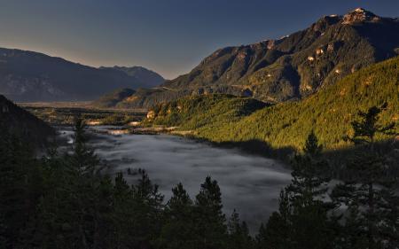 Заставки туман, долина, горы, скалы