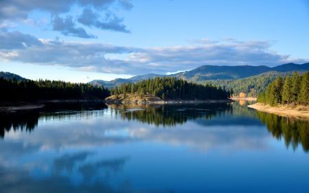 Фото озеро, лес, деревья, небо