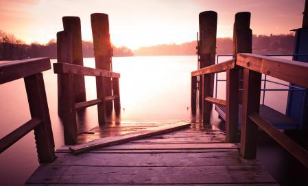 Картинки озеор, закат, мостик, вода