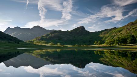 Картинки пейзаж, landscape, озеро, холмы