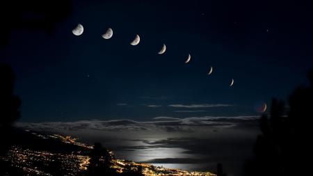 Фото фазы, луны, ночной, город