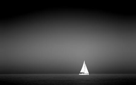 Заставки парус, черно белое, море, небо