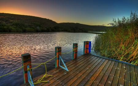 Обои lake, nature, landscape, sunset