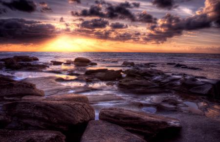 Фотографии море, закат, солнце, камни