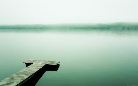 Заставки озеро, вода, причал, туман