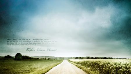 Фотографии дорога, деревья, поле, надпись