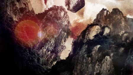Фото скалы, деревья, шум, блик