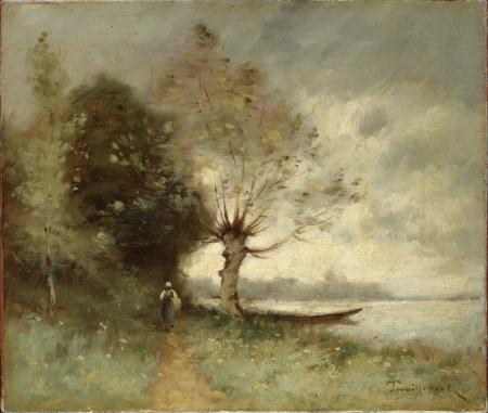 Картинки Поль Дезире Труибер, Берег Луары около Шузе, картина, дерево