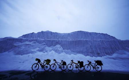 Фотографии велосипеды, снег, пейзаж