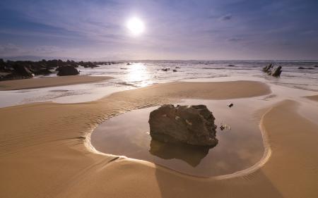 Обои Закат, солнце, берег, песок