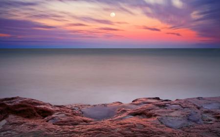 Обои вечер, луна, небо, горизонт