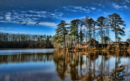 Обои озеро, дом, деревья, небо