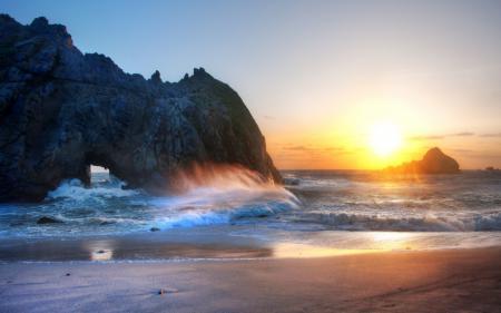 Заставки usa, california, океан, закат