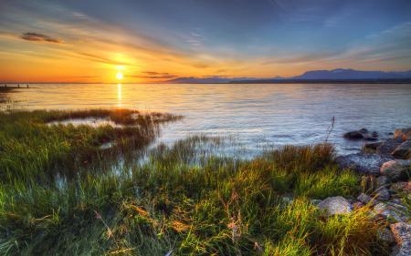 Обои озеро, закат, трава