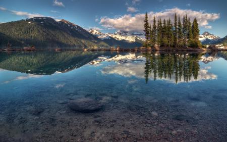 Заставки горы, деревья, озеро, отражение