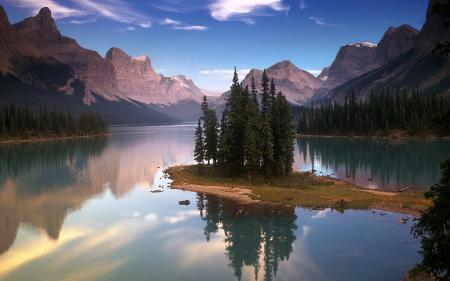 Обои озеро, горы, казат, деревья