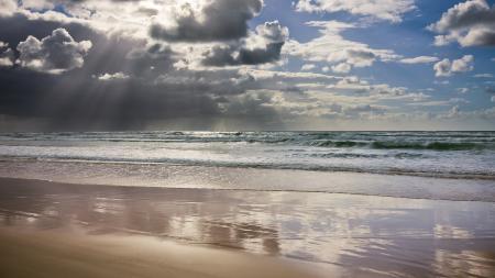 Картинки небо, лучи, облака, океан