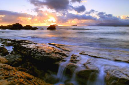 Заставки море, камни, потоки, вода