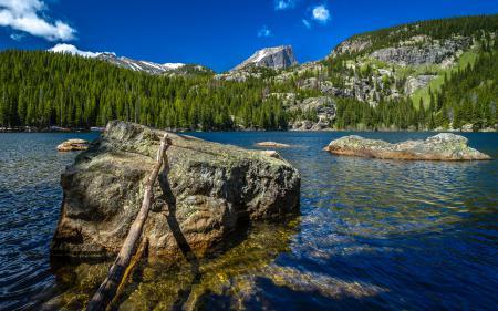 Фотографии озеро, горы, камни, лес